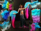 1 pair sturdy turquoise~various colors 1.5m*0.9m belly dance silk fan veils+bag
