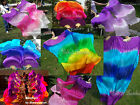 2pcs purple~various colors 1.8m*0.9m belly dance light silk fan veils+carry bag.