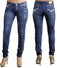 Ladies High Quality Skinny Jeans w/Rhinestones 61Blue Size 6 7