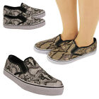 Ladies Fashion Slip-on Platform Sneakers Shoes Snake Skin Style Beige & White UK