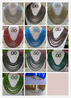 silver accessories 8rows jewelry 30color Crystal beads necklace,Earrings/sets 03