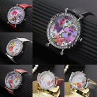 Flower Butterfly Crystal Leather Band Womens Quartz Dial Wrist Watch Tide