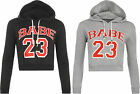 New Womens Babe 23 Cropped Long Sleeve Sweatshirt Hoodie Ladies Short Top 8-14