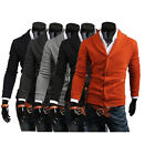 ST Mens Slim V-neck Knitted Cardigan Collared Sweater Casual Pocket Fashion Tops