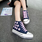 2015 Womens Sweety Canvas Shoes Fashion Bead flower High Heels Lace Up Sneakers
