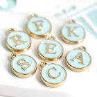 A-Z Blue round gold border metal Initial Charm Letters Alphabet (9-1-582)
