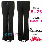 Womens Boot Cut Black Work Trousers Reverse Miss Sexies Plus Size 6-26 Regular