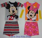 MINNIE or MICKEY MOUSE 24 Mo 2T 3T 4T 5T Pjs Set PAJAMAS Shirt Shorts DISNEY