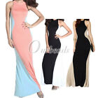 Sleeveless Swerve Halter Two-tone Full Length Evening Cocktail Party Long Dress