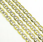 """4.2mm 20-22"""" 10K Two Tone Gold Diamond Cut Mariner Anchor Cuban Chain Necklace"""