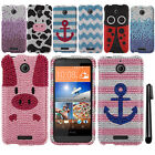 For HTC Desire 510 DIAMOND BLING CRYSTAL HARD Case Phone Cover + Pen