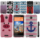 For HTC Desire 510 Desire 512 DIAMOND BLING CRYSTAL HARD Case Phone Cover + Pen