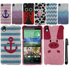For HTC Desire 816 FULL DIAMOND BLING CRYSTAL HARD Case Phone Cover + Pen