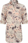 New Womens Floral Silk Print Collar Button Long 3/4 Sleeve Top Ladies Shirt 8-14