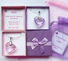 Heart Pendant Crystal Necklace in Personalised Box Bridesmaid Birthday Gift