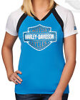 Harley-Davidson Womens Rhinestone B&S COOL BASE Blue Short Sleeve T-Shirt