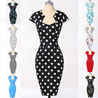 BLACK WHITE RED BLUE POLKA DOT PENCIL DRESS VINTAGE STYLE WIGGLE SEXY