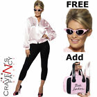 Pink Ladies Grease Official Jacket 70s Lady Fancy Dress FREE Shades Add Bag