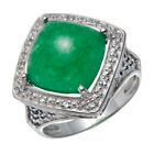 Genuine Green Jade, Sapphire And White Topaz 925 Sterling Silver Ring Sz 7 8