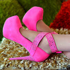 NEW Sexy Neon Pink Silver Stud Hidden Platform Pumps Stiletto High Heel Shoes