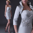 UK CHEAP Mother of the Bride Short Dress Wedding Party Formal Gown + Free Jacket