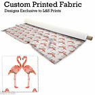 FLAMINGOS DESIGN FABRIC LYCRA SPANDEX POLYESTER SATIN ALOBA VOILE L&S PRINTS