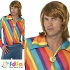 "70s DISCO HIPPIE RAINBOW COLOUR STRIPE SHIRT - 38""-44"" mens fancy dress costume"
