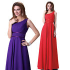 IN UK One Shoulder Long Evening Formal Bridesmaid Wedding Gown Prom Party Dress+