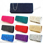 NAVY BLACK PINK RED IVORY TEAL Satin Floral Lace Clutch Evening Bridal Bag #092