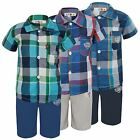 BOYS 2 PIECES CHECKED SHORT SLEEVE SHIRT & SHORTS SET KIDS SUMMER KIT 1-12 YEARS