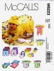 McCalls 6223 Baby Romper Suit Babygro Top Bib Booties Hat Sewing Pattern M6223