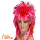 80s Sparkle Rock Diva Wig Neon Pink Long Mullet Ladies Fancy Dress Costume