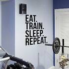Eat Train Sleep Repeat Wall Decal Quote Sticker Exercise Fitness Home Gym DIY