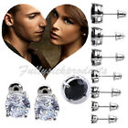 2p 18K White Gold Plated Clear/Black Round Cubic Zirconia Stud Earring 3-10mm