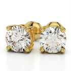 $5000 Sparkling 2.0ct  White Brilliant Round Natural Diamonds Gold Stud Earrings