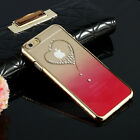Luxury Crystal Heart Clear Hard Chromed Frame Case Cover for iPhone Models