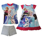 Girls Frozen Princess Anna Elsa T-shirts Kids  Summer Top Dress Disney 3D