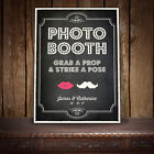 GRAB A PROP PHOTO BOOTH PERSONALISED WEDDING SIGN VINTAGE CHALKBOARD - B