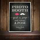 GRAB A PROP PHOTO BOOTH PERSONALISED SIGN WEDDING VINTAGE CHALKBOARD STYLE O LIP