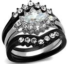 Size 6 7 8 L N P 3PC Marquise WEDDING Engagement Ring SET black Steel LTK2188E