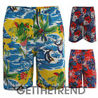 Mens Hawaiian Shorts Mens Floral Flower Design Swim Shorts Trunks Beach S M L XL