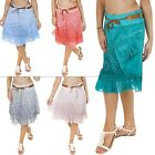 New Womens Ladies Lagenlook Lace Layered Italian Linen Midi skirt Size L XL XXL