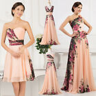 Long/Short FLORAL Style Masquerade Evening Wedding Gown Party Prom Dress UK 6-20