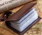 Women Real Leather RFID Pocket Name Credit Card Case Holder With Elastic Band