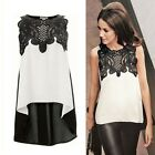 New Women Lady Sleeveless Embroidery Lace Tops Chiffon Irregular Shirt Blouse LA