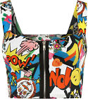 New Womens Comic Print Zip Short Boobtube Bralet Ladies Crop Top 8-14