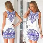 2pcs Sexy Summer Women's Sleeveless Bodycon Mini Dress Crop Tops and Skirt BF9