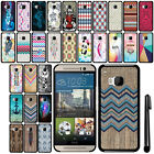 For HTC One M9 SLIM FIT PATTERN HARD Case Back Phone Cover + Pen