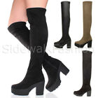 WOMENS ZIP HIGH BLOCK CHUNKY HEEL PLATFORM OVER THE KNEE STRETCH BOOTS SIZE