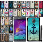 For Samsung Galaxy Note 4 N910 SLIM FIT PATTERN HARD Case Back Phone Cover + Pen